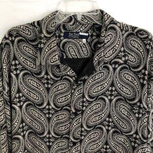 Nat Nast Black Paisley 100% Silk Shirt Size 2XL